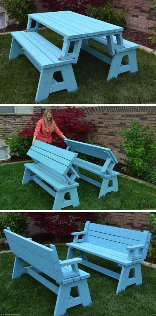 lady folding out DIY blue picnic table and bench